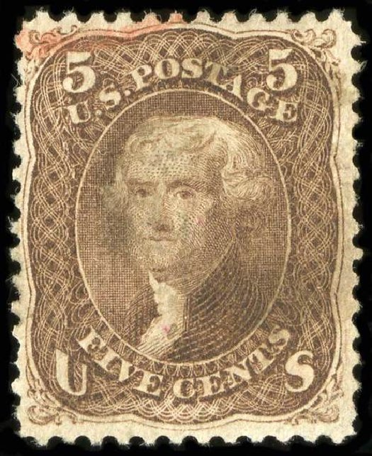 Values of US Stamps Scott Cat. #95 - 1868 5c Jefferson Grill. Spink Shreves Galleries, Jul 2015, Sale 151, Lot 86