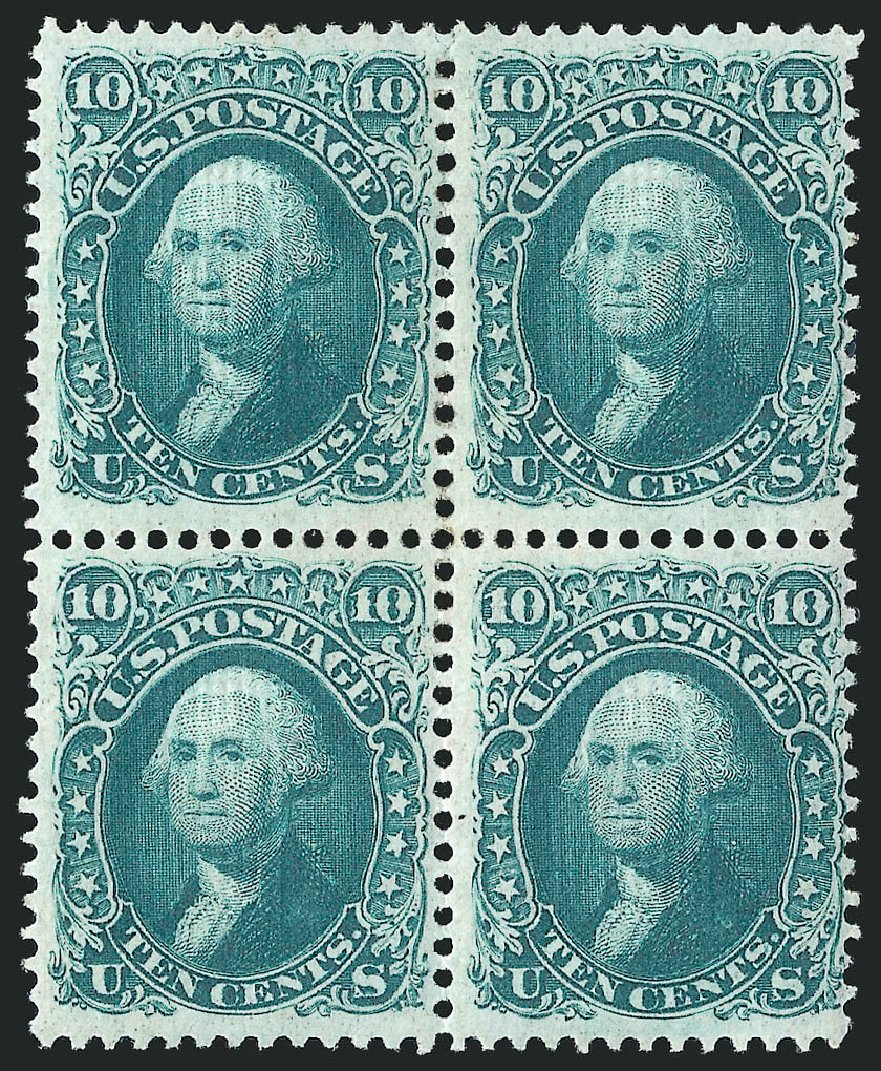 Costs of US Stamps Scott Cat. 96: 1868 10c Washington Grill. Robert Siegel Auction Galleries, Apr 2015, Sale 1096, Lot 185