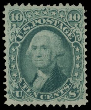 Costs of US Stamps Scott Catalogue 96 - 10c 1868 Washington Grill. Daniel Kelleher Auctions, May 2015, Sale 669, Lot 2542
