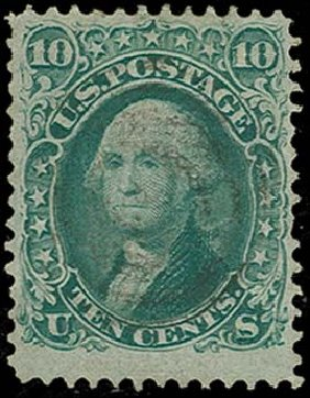 Price of US Stamps Scott Catalogue 96: 1868 10c Washington Grill. H.R. Harmer, Oct 2014, Sale 3006, Lot 1143