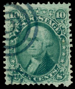 US Stamp Value Scott Cat. #96 - 1868 10c Washington Grill. Daniel Kelleher Auctions, May 2015, Sale 669, Lot 2543