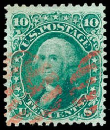 Costs of US Stamp Scott Catalogue #96 - 1868 10c Washington Grill. Schuyler J. Rumsey Philatelic Auctions, Apr 2015, Sale 60, Lot 2063