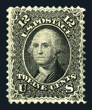 US Stamp Price Scott Cat. # 97 - 1868 12c Washington Grill. Harmer-Schau Auction Galleries, Aug 2015, Sale 106, Lot 1448