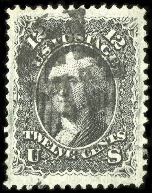 US Stamps Values Scott Catalogue # 97 - 1868 12c Washington Grill. Spink Shreves Galleries, Jul 2015, Sale 151, Lot 88