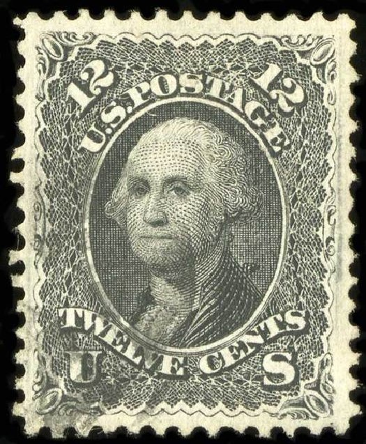 US Stamps Prices Scott 97: 1868 12c Washington Grill. Spink Shreves Galleries, Jul 2015, Sale 151, Lot 89