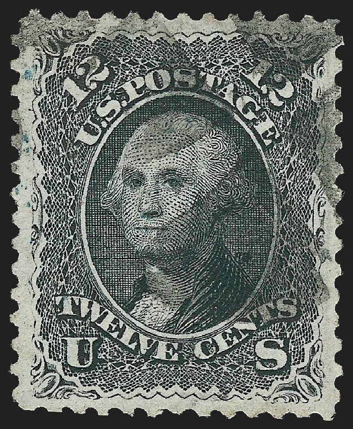US Stamp Values Scott Catalogue # 97 - 1868 12c Washington Grill. Robert Siegel Auction Galleries, Jul 2015, Sale 1107, Lot 210
