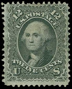 Cost of US Stamps Scott Catalogue 97: 1868 12c Washington Grill. H.R. Harmer, Jun 2015, Sale 3007, Lot 3174