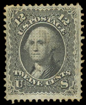 US Stamp Values Scott Catalogue 97 - 1868 12c Washington Grill. Daniel Kelleher Auctions, Aug 2015, Sale 672, Lot 2305