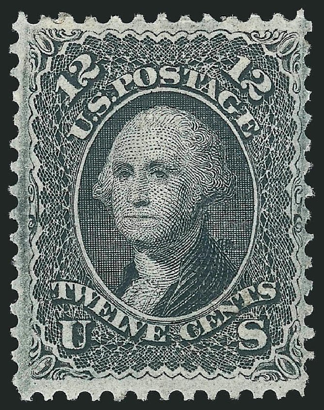 US Stamps Values Scott Cat. 97: 12c 1868 Washington Grill. Robert Siegel Auction Galleries, Apr 2015, Sale 1096, Lot 186