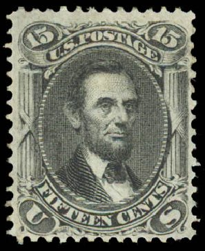US Stamps Prices Scott Catalog 98: 1868 15c Lincoln Grill. Daniel Kelleher Auctions, Aug 2015, Sale 672, Lot 2308