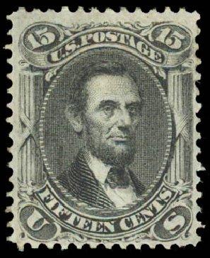 US Stamps Prices Scott Catalog 98: 1868 15c Lincoln Grill. Daniel Kelleher Auctions, Aug 2015, Sale 672, Lot 2308