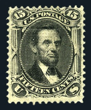US Stamp Value Scott #98: 15c 1868 Lincoln Grill. Harmer-Schau Auction Galleries, Aug 2015, Sale 106, Lot 1449