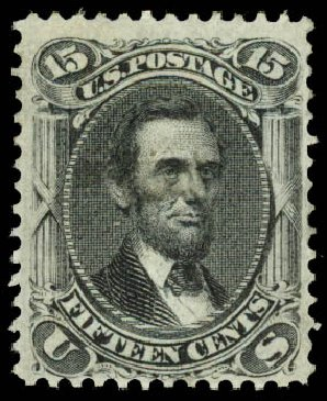 US Stamp Values Scott Catalog 98: 1868 15c Lincoln Grill. Daniel Kelleher Auctions, Aug 2015, Sale 672, Lot 2309
