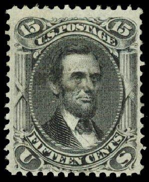 US Stamp Values Scott Catalog 98: 1868 15c Lincoln Grill. Daniel Kelleher Auctions, Aug 2015, Sale 672, Lot 2309