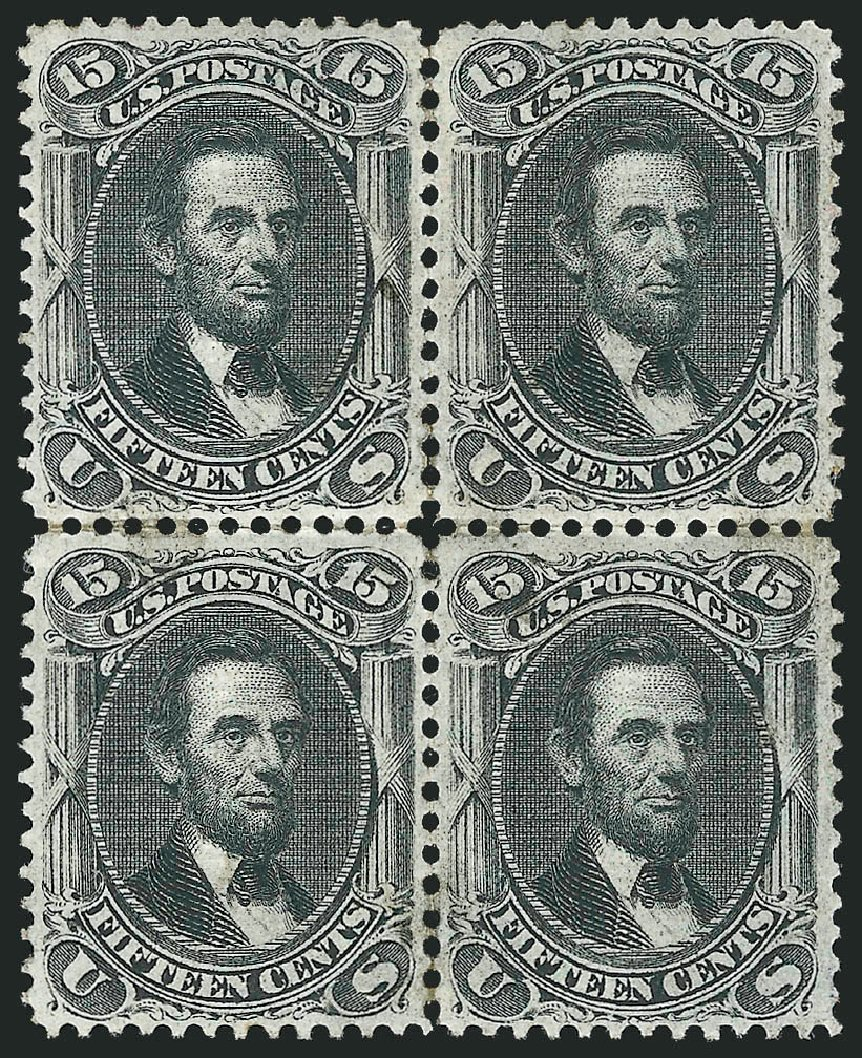 US Stamps Values Scott Catalogue # 98 - 15c 1868 Lincoln Grill. Robert Siegel Auction Galleries, Apr 2015, Sale 1096, Lot 189