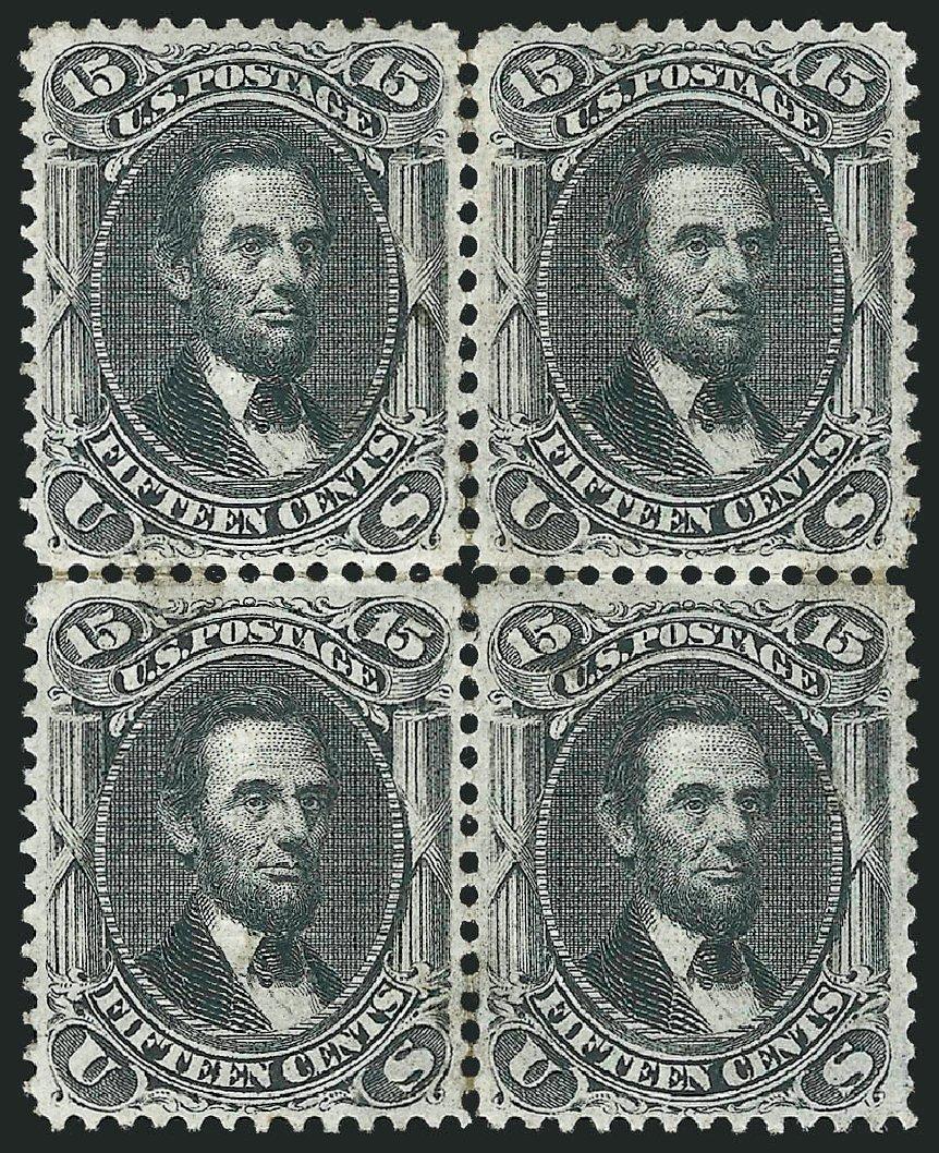 US Stamps Values Scott Catalogue # 98 - 15c 1868 Lincoln Grill. Robert Siegel Auction Galleries, Apr 2015, Sale 1096, Lot 189