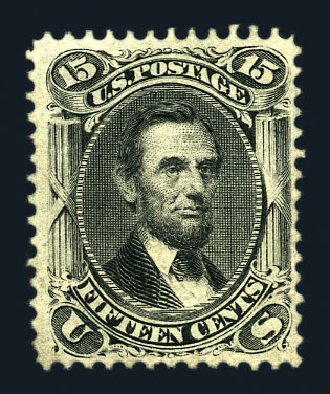 Prices of US Stamp Scott Catalogue # 98: 1868 15c Lincoln Grill. Harmer-Schau Auction Galleries, Aug 2015, Sale 106, Lot 1450