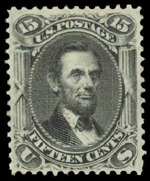 US Stamp Prices Scott Cat. #98: 1868 15c Lincoln Grill. Daniel Kelleher Auctions, Aug 2015, Sale 672, Lot 2310