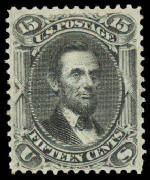 US Stamp Prices Scott Cat. #98: 1868 15c Lincoln Grill. Daniel Kelleher Auctions, Aug 2015, Sale 672, Lot 2310