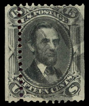 US Stamps Values Scott #98 - 1868 15c Lincoln Grill. Daniel Kelleher Auctions, Aug 2015, Sale 672, Lot 2311
