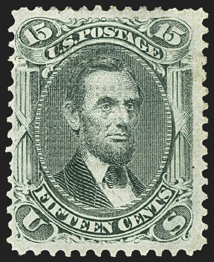 Prices of US Stamps Scott Cat. #98 - 1868 15c Lincoln Grill. Robert Siegel Auction Galleries, Jul 2015, Sale 1107, Lot 211