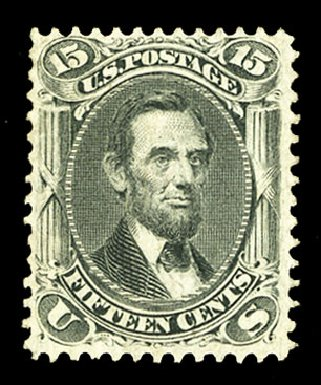 US Stamps Values Scott Catalogue #98 - 15c 1868 Lincoln Grill. Cherrystone Auctions, Jul 2015, Sale 201507, Lot 2045
