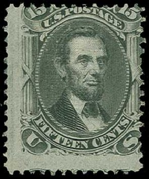 Price of US Stamps Scott Catalog 98 - 15c 1868 Lincoln Grill. H.R. Harmer, Jun 2015, Sale 3007, Lot 3175