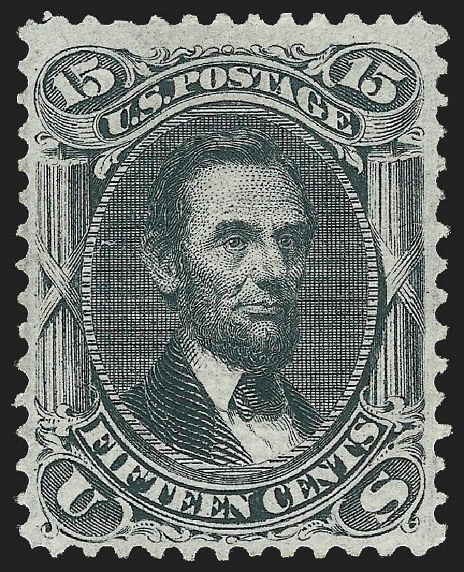 US Stamp Prices Scott Cat. # 98 - 1868 15c Lincoln Grill. Robert Siegel Auction Galleries, Jul 2015, Sale 1107, Lot 212