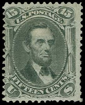 US Stamp Values Scott Cat. #98 - 1868 15c Lincoln Grill. H.R. Harmer, Jun 2015, Sale 3007, Lot 3176
