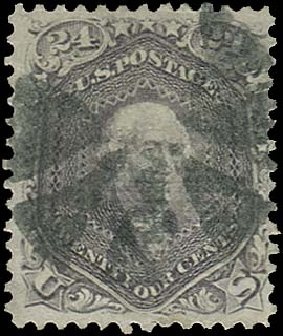 Values of US Stamp Scott 99 - 1869 24c Washington Grill. Regency-Superior, Aug 2015, Sale 112, Lot 218