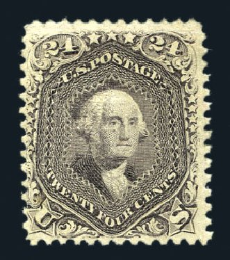 US Stamps Prices Scott 99: 24c 1869 Washington Grill. Harmer-Schau Auction Galleries, Aug 2015, Sale 106, Lot 1451