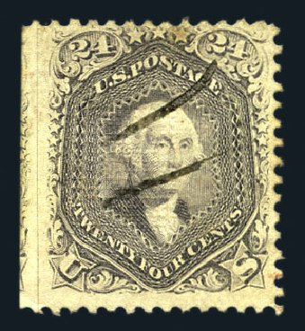 Prices of US Stamp Scott Cat. 99: 24c 1869 Washington Grill. Harmer-Schau Auction Galleries, Aug 2015, Sale 106, Lot 1452
