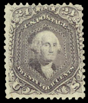 US Stamps Prices Scott Cat. 99 - 24c 1869 Washington Grill. Daniel Kelleher Auctions, Aug 2015, Sale 672, Lot 2312