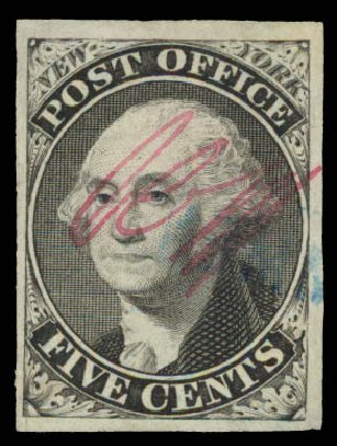 US Stamps Values Scott Cat. # 9X1 - 1846 5c New York Postmasters Provisional. Daniel Kelleher Auctions, May 2015, Sale 669, Lot 2327