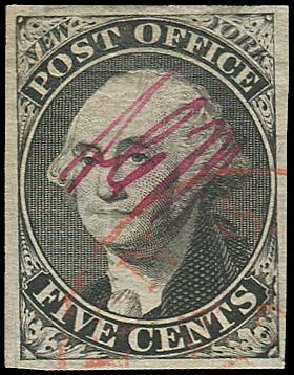 Costs of US Stamps Scott Cat. # 9X1 - 5c 1846 New York Postmasters Provisional. Regency-Superior, Aug 2015, Sale 112, Lot 17