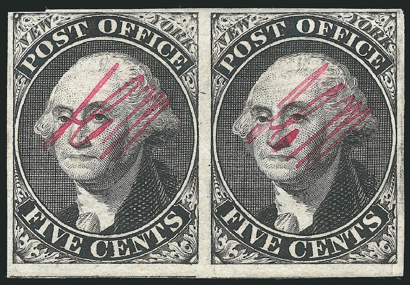 Prices of US Stamp Scott Catalog 9X1: 1846 5c New York Postmasters Provisional. Robert Siegel Auction Galleries, Dec 2014, Sale 1090, Lot 1087