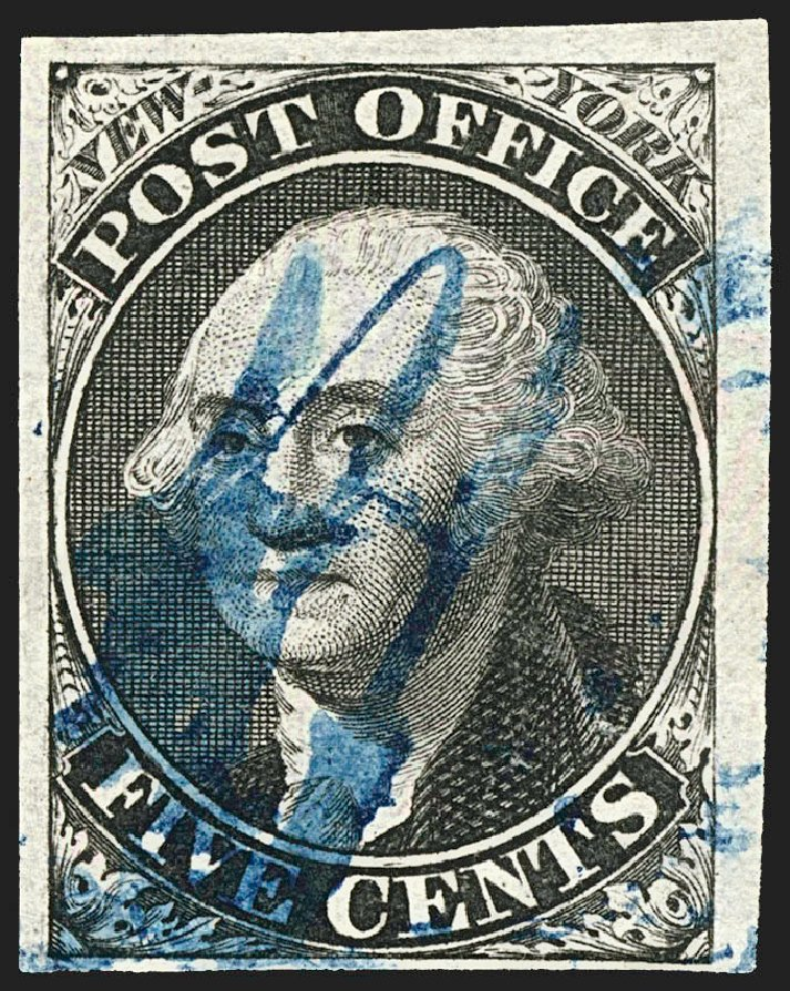 US Stamp Prices Scott Cat. #9X1: 1846 5c New York Postmasters Provisional. Robert Siegel Auction Galleries, Jul 2015, Sale 1107, Lot 7