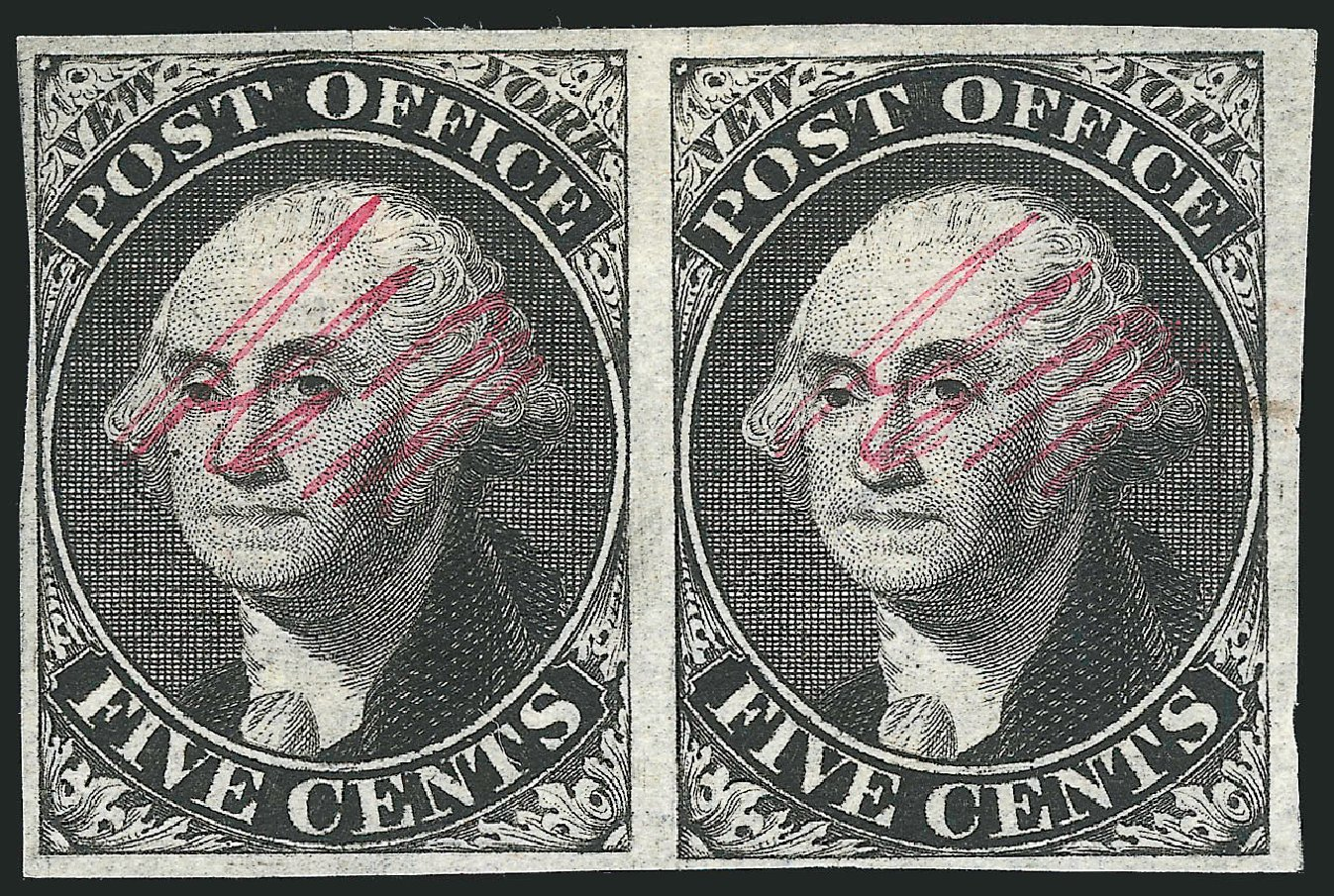 US Stamps Prices Scott 9X1 - 1846 5c New York Postmasters Provisional. Robert Siegel Auction Galleries, Dec 2014, Sale 1090, Lot 1089