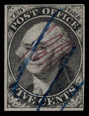 Prices of US Stamps Scott Catalog # 9X1 - 1846 5c New York Postmasters Provisional. Daniel Kelleher Auctions, May 2015, Sale 669, Lot 2330