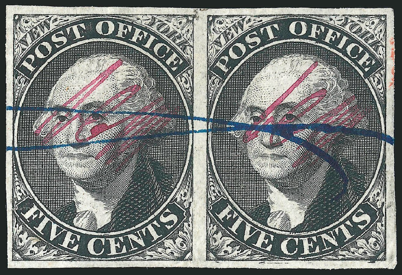 Value of US Stamps Scott Catalogue 9X1: 1846 5c New York Postmasters Provisional. Robert Siegel Auction Galleries, Dec 2014, Sale 1090, Lot 1080