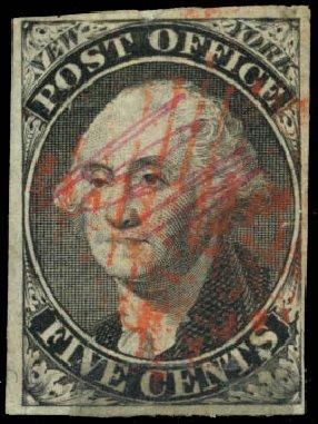 Price of US Stamp Scott Catalogue #9X1: 1846 5c New York Postmasters Provisional. Daniel Kelleher Auctions, Dec 2014, Sale 661, Lot 1