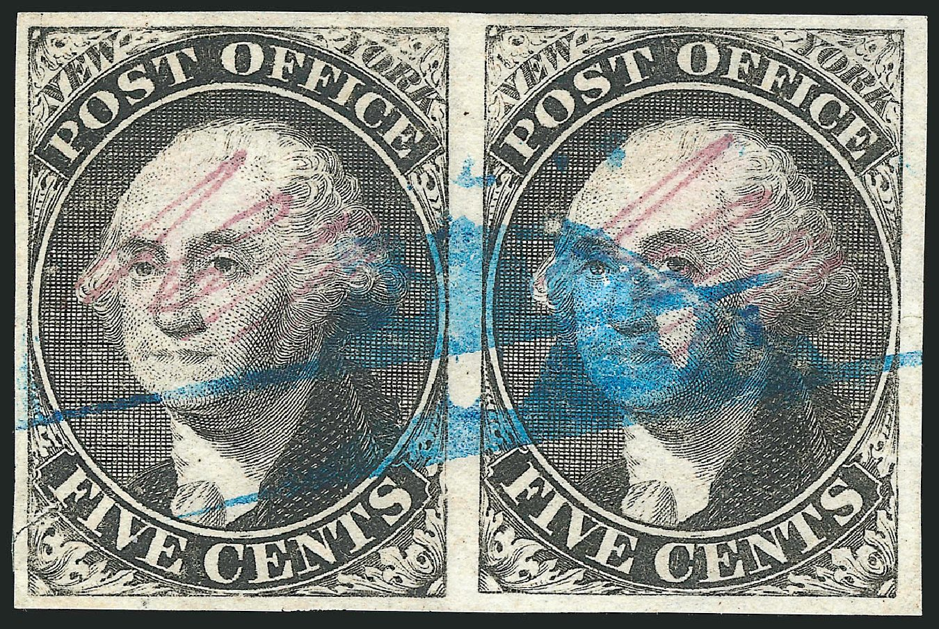 Cost of US Stamps Scott Catalog #9X1 - 1846 5c New York Postmasters Provisional. Robert Siegel Auction Galleries, Dec 2014, Sale 1090, Lot 1081