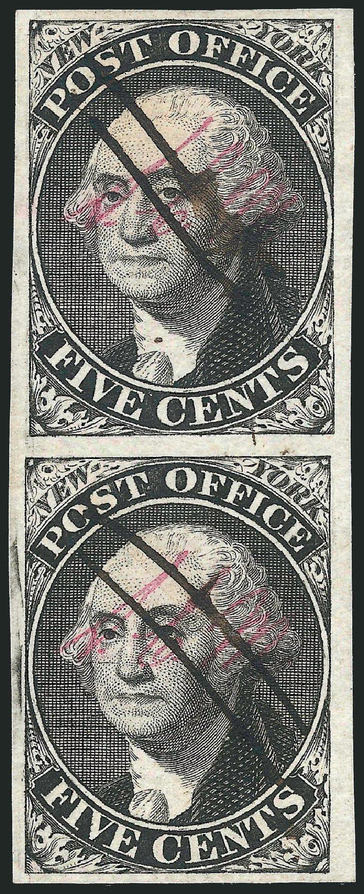 US Stamp Value Scott 9X1: 1846 5c New York Postmasters Provisional. Robert Siegel Auction Galleries, Dec 2014, Sale 1090, Lot 1091