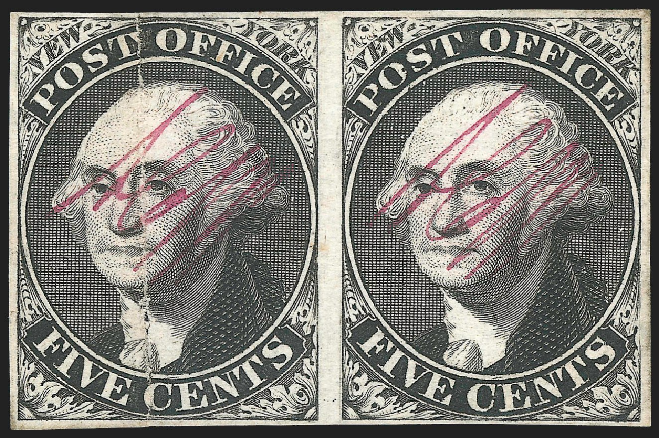 Cost of US Stamp Scott Catalog #9X1 - 5c 1846 New York Postmasters Provisional. Robert Siegel Auction Galleries, Jul 2015, Sale 1107, Lot 4