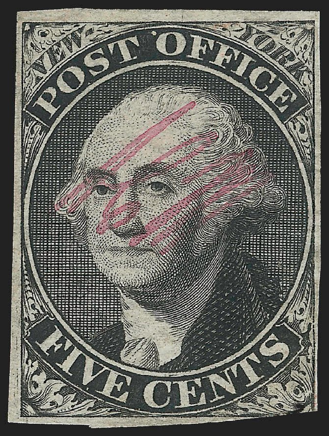 Prices of US Stamp Scott 9X1: 1846 5c New York Postmasters Provisional. Robert Siegel Auction Galleries, Jul 2015, Sale 1107, Lot 5