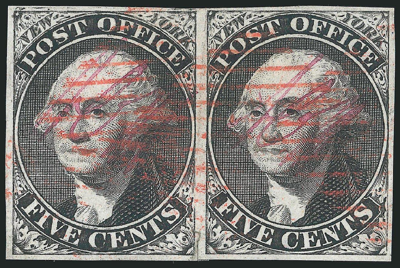 US Stamp Value Scott # 9X1: 1846 5c New York Postmasters Provisional. Robert Siegel Auction Galleries, Dec 2014, Sale 1090, Lot 1082