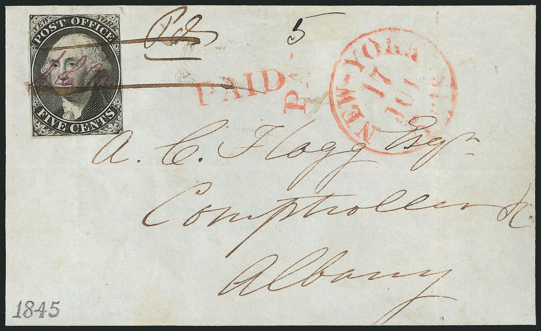 Values of US Stamp Scott Cat. # 9X1: 5c 1846 New York Postmasters Provisional. Robert Siegel Auction Galleries, Dec 2014, Sale 1090, Lot 1092