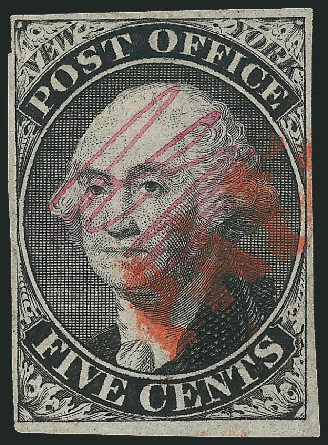US Stamps Values Scott Cat. # 9X1: 1846 5c New York Postmasters Provisional. Robert Siegel Auction Galleries, Jul 2015, Sale 1107, Lot 3