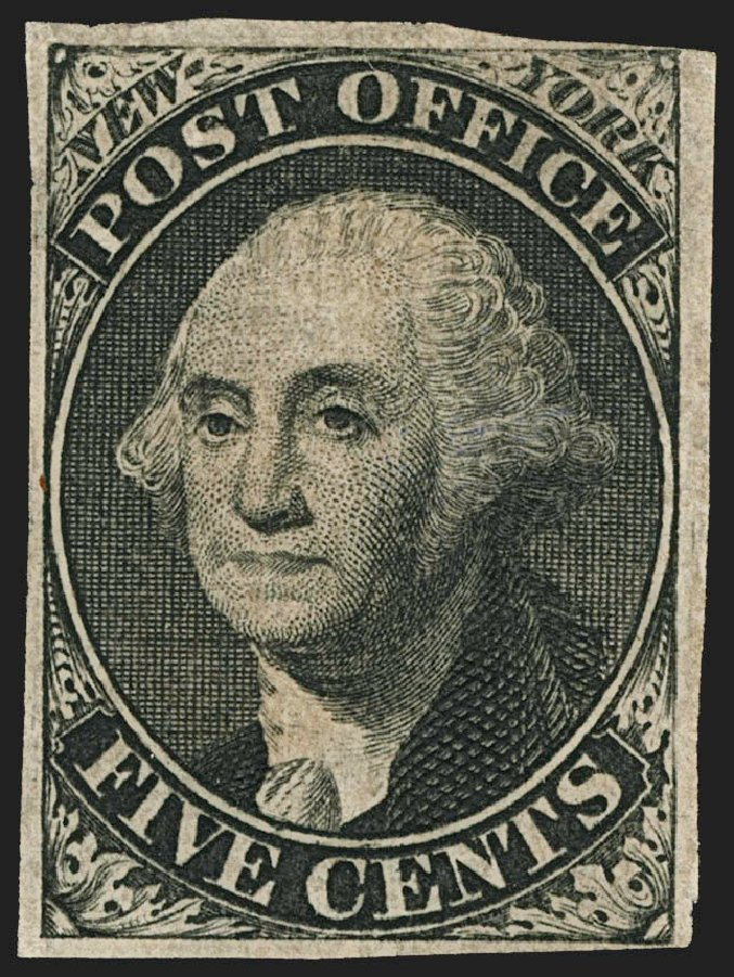 Values of US Stamps Scott Catalogue #9X1: 5c 1846 New York Postmasters Provisional. Robert Siegel Auction Galleries, Jul 2015, Sale 1107, Lot 6