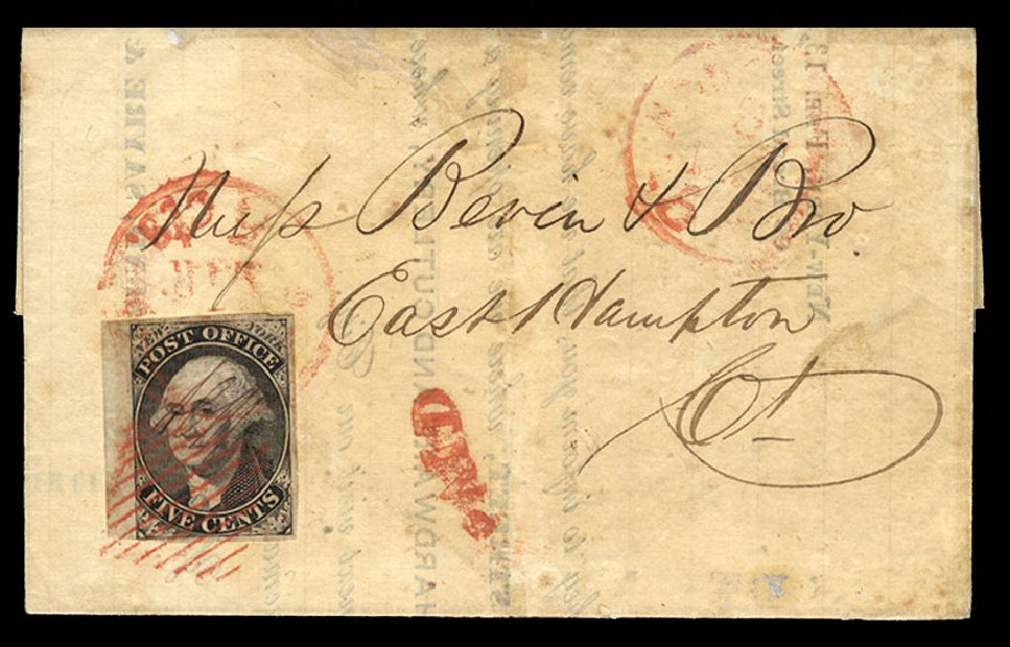Costs of US Stamps Scott Catalog 9X3: 1847 5c New York Postmasters Provisional. Cherrystone Auctions, Oct 2012, Sale 201210, Lot 2